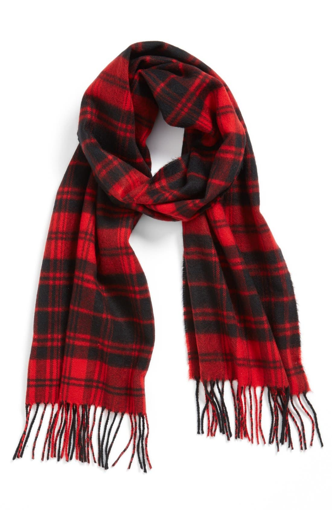 'Softer Than Cashmere' Plaid Scarf,                         Main,                         color, Red/ Black