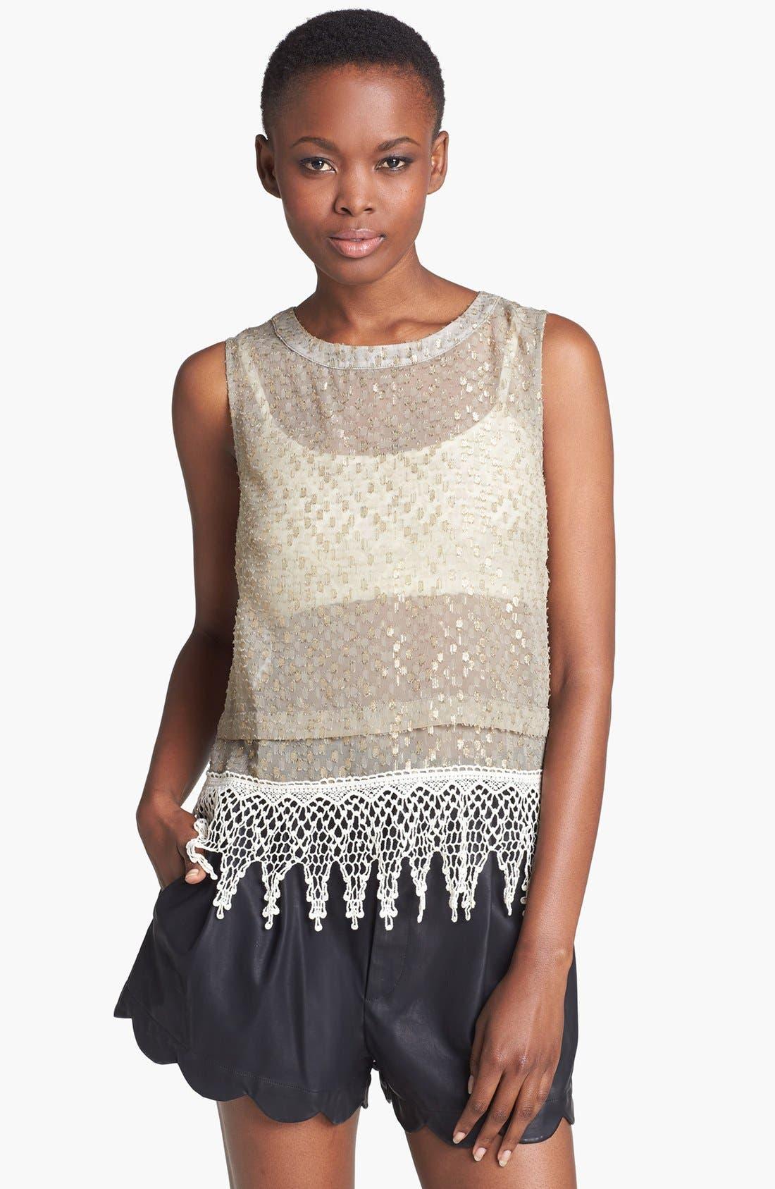 Alternate Image 1 Selected - ASTR Crochet Fringed Metallic Shell