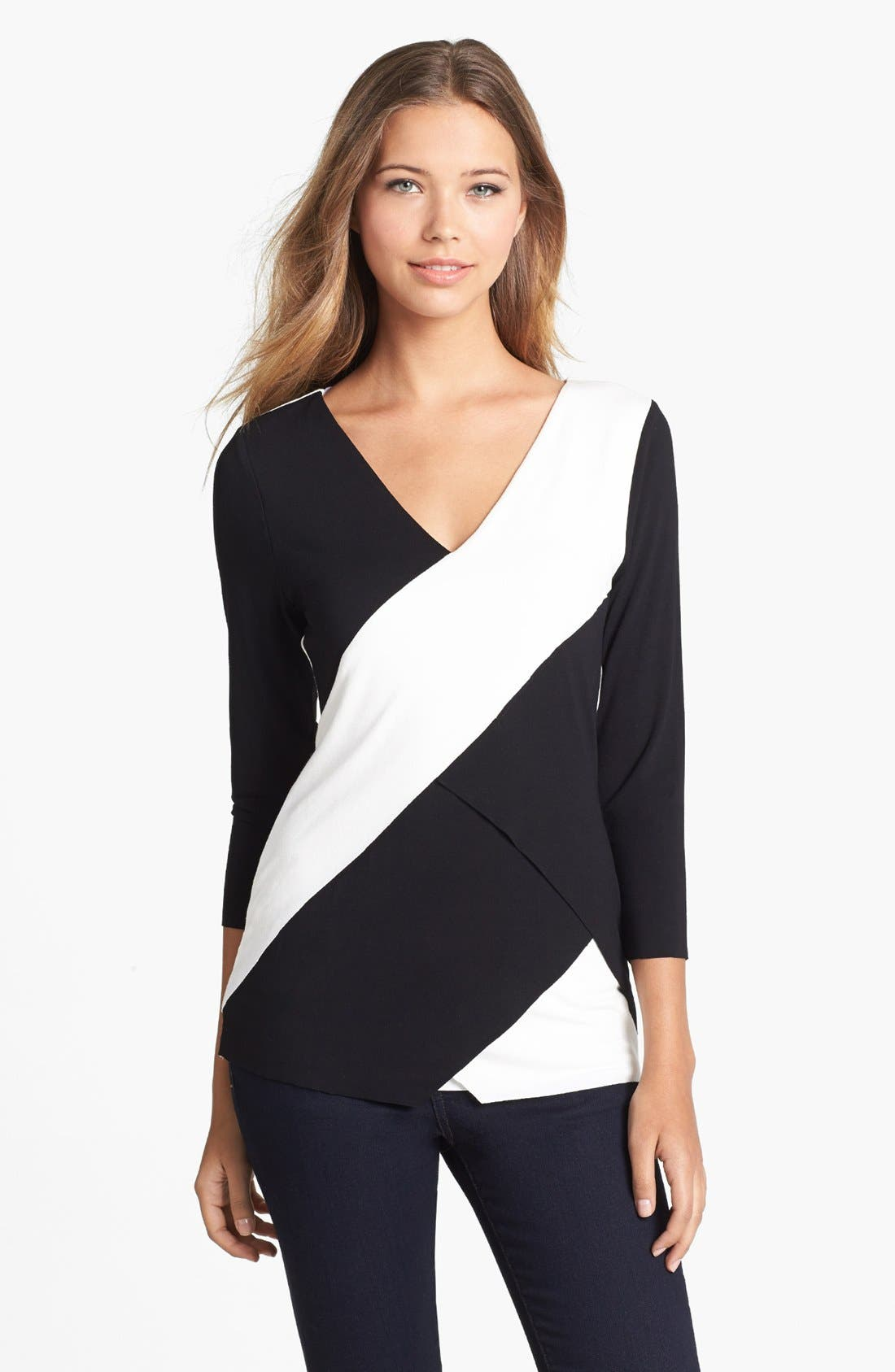 Alternate Image 1 Selected - Vince Camuto Tiered Colorblock Tee (Regular & Petite)