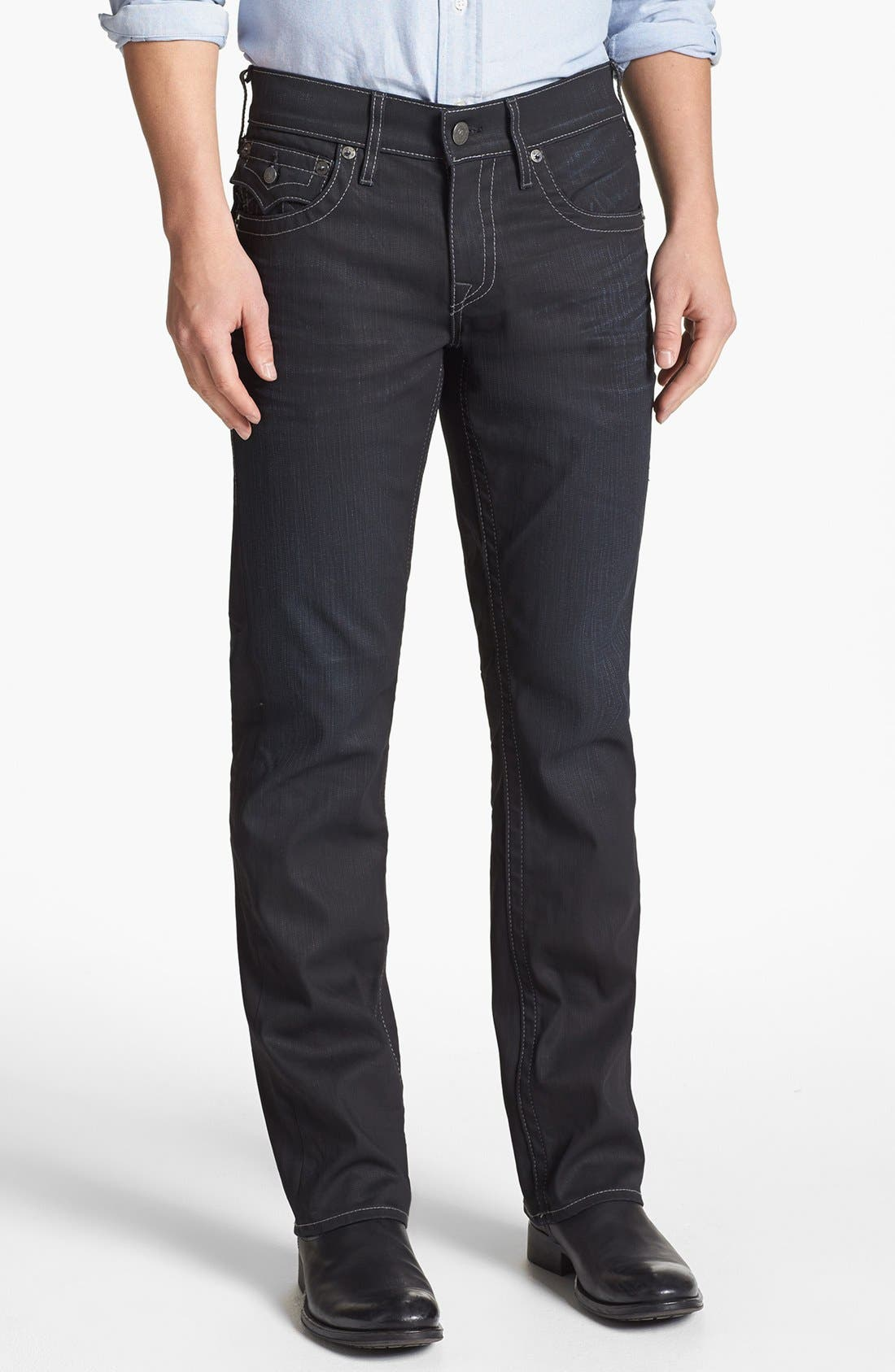 Alternate Image 2  - True Religion Brand Jeans 'Ricky' Coated Straight Leg Jeans (Gbd Black Rider)