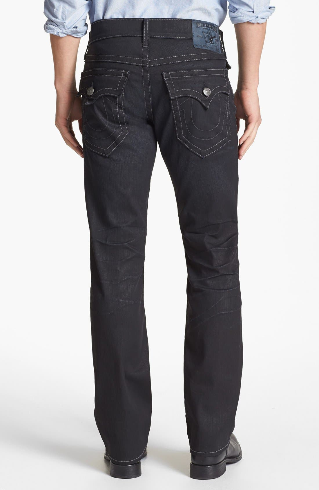 Alternate Image 1 Selected - True Religion Brand Jeans 'Ricky' Coated Straight Leg Jeans (Gbd Black Rider)