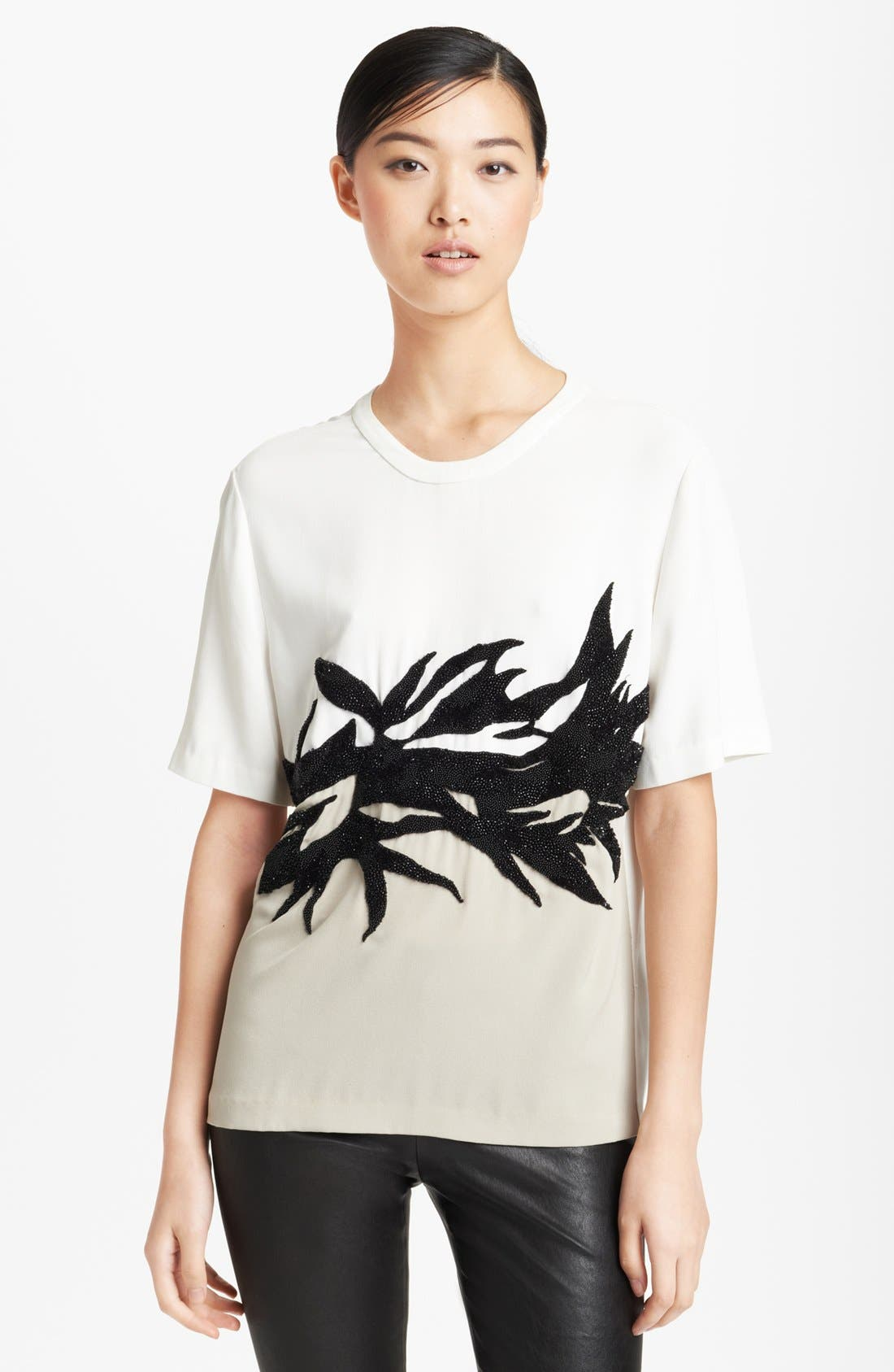 Alternate Image 1 Selected - Jason Wu Botanical Appliqué Crepe Tee