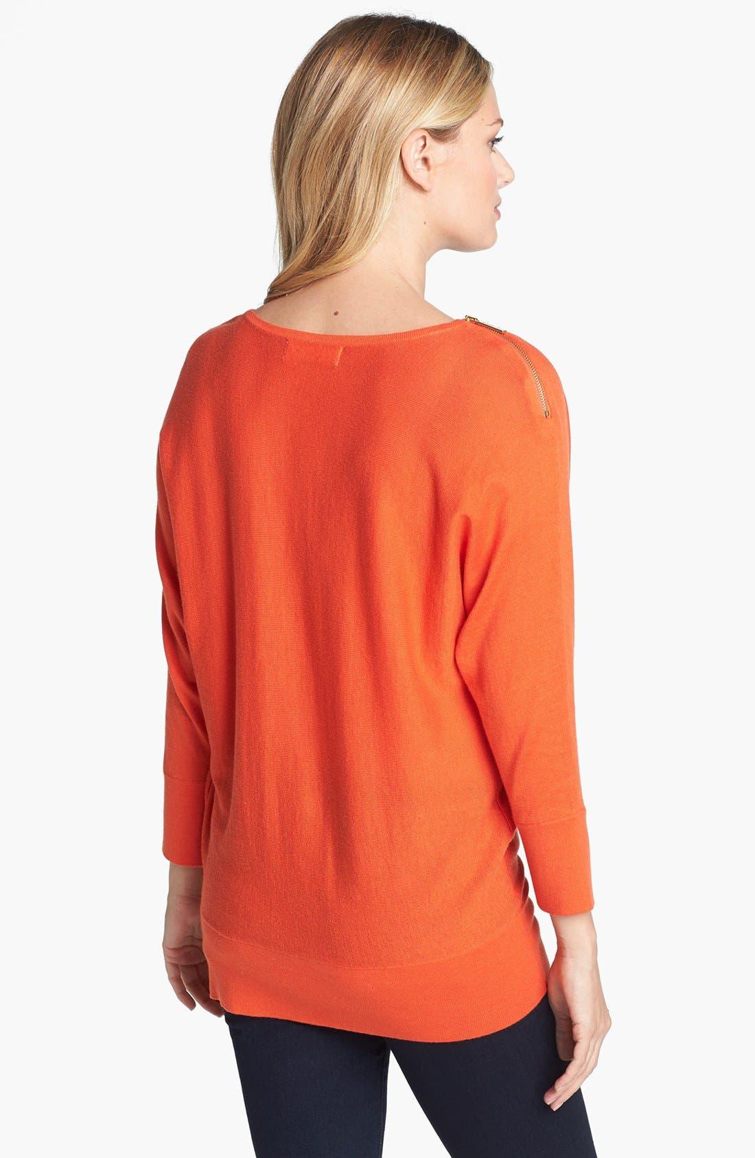 Alternate Image 2  - MICHAEL Michael Kors Zip Shoulder Cowl Neck Sweater (Regular & Petite)