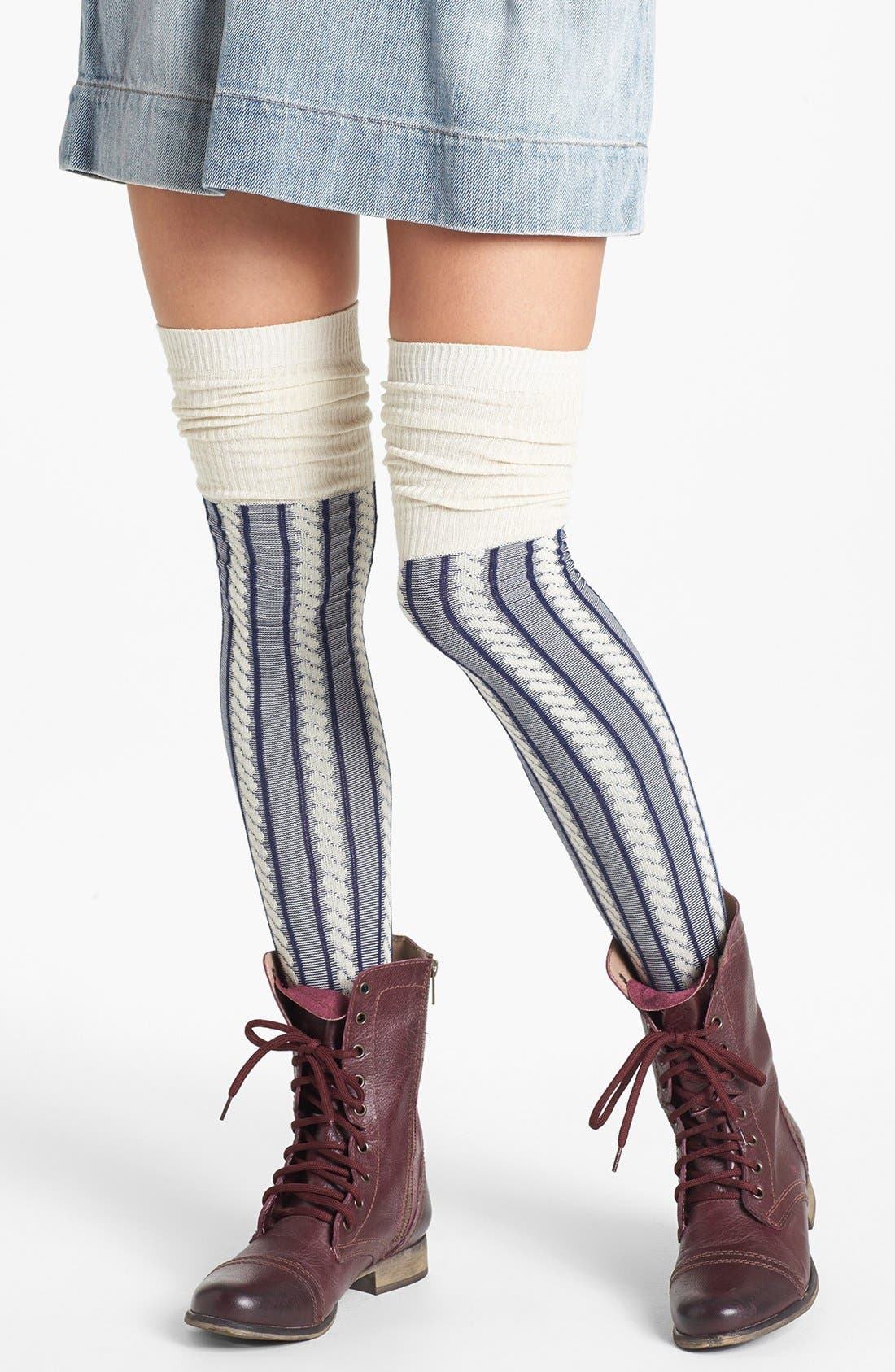 Main Image - Free People 'Cable Guy' Thigh High Socks
