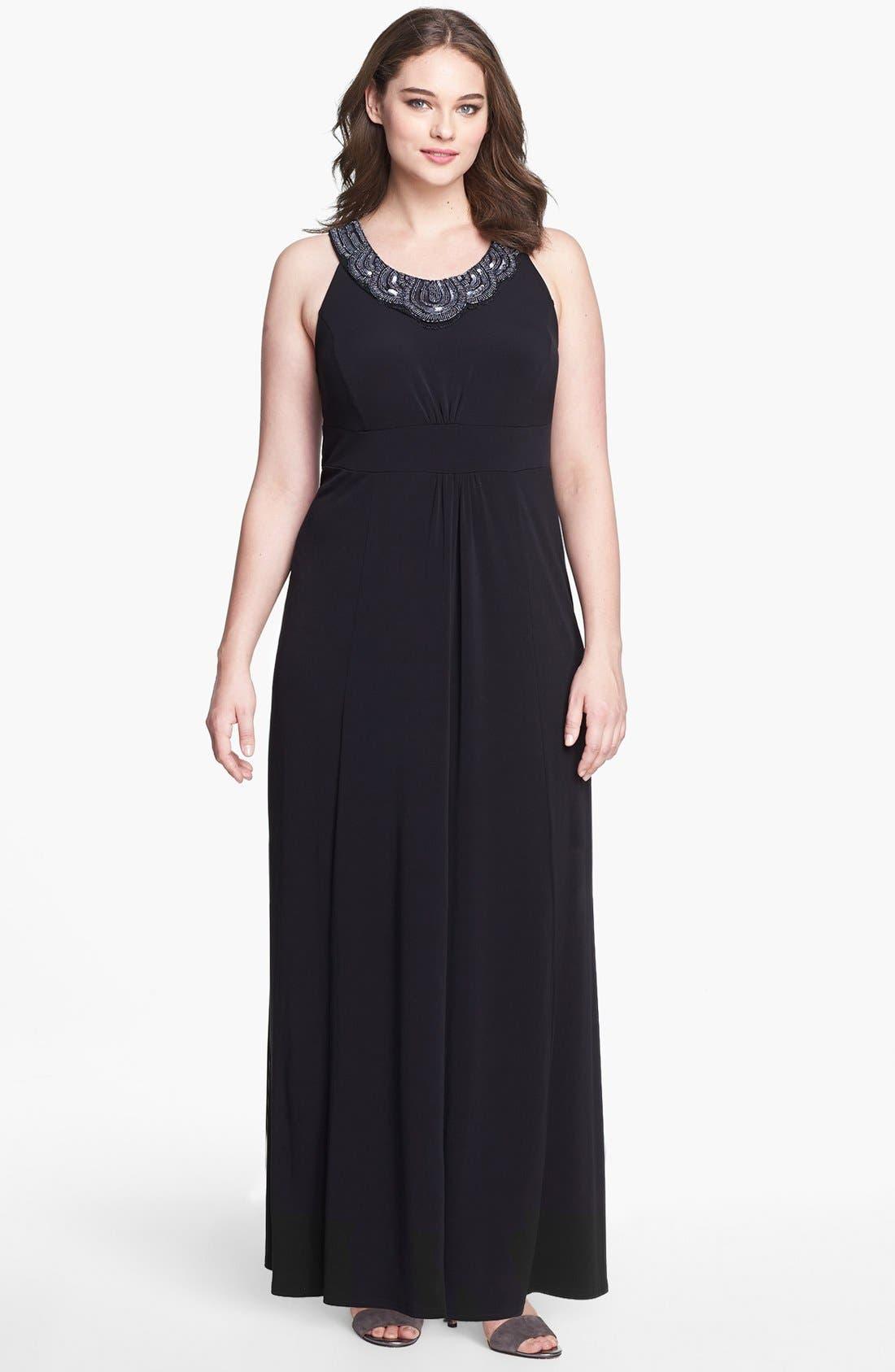 Alternate Image 1 Selected - Evans Embellished Jersey Maxi Dress (Plus Size)