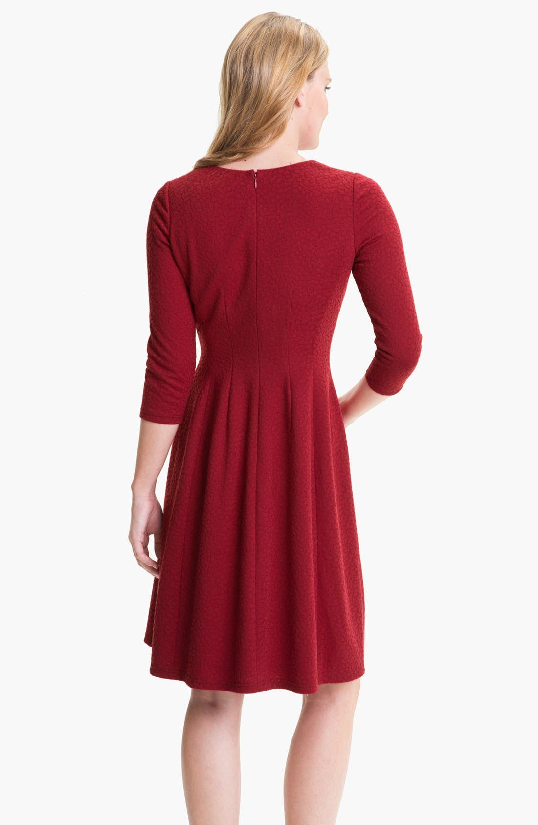 Alternate Image 2  - Adrianna Papell Textured Ponte Fit & Flare Dress (Petite)