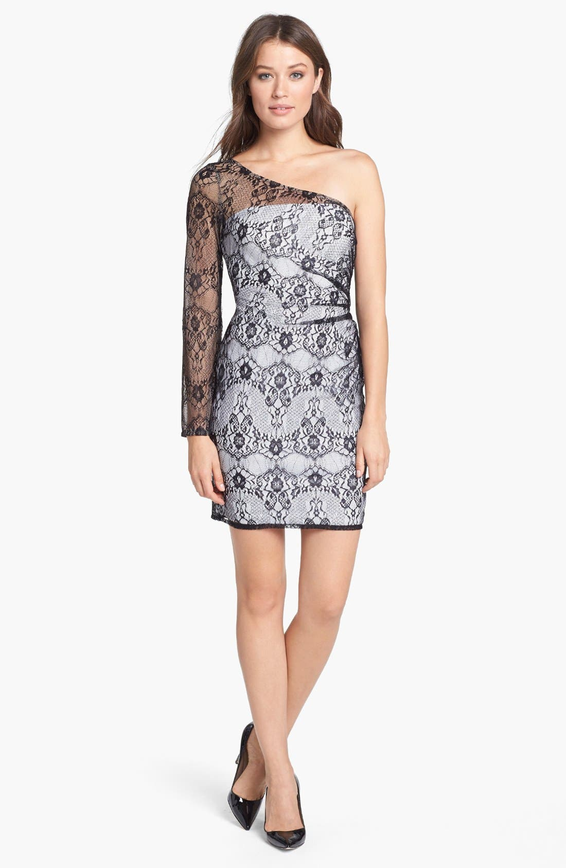 Main Image - Hailey by Adrianna Papell One-Shoulder Lace Sheath Dress