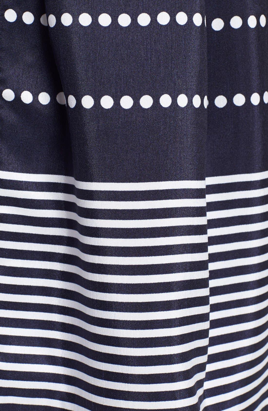Alternate Image 3  - Taylor Dresses Polka Dot Stripe Fit & Flare Dress