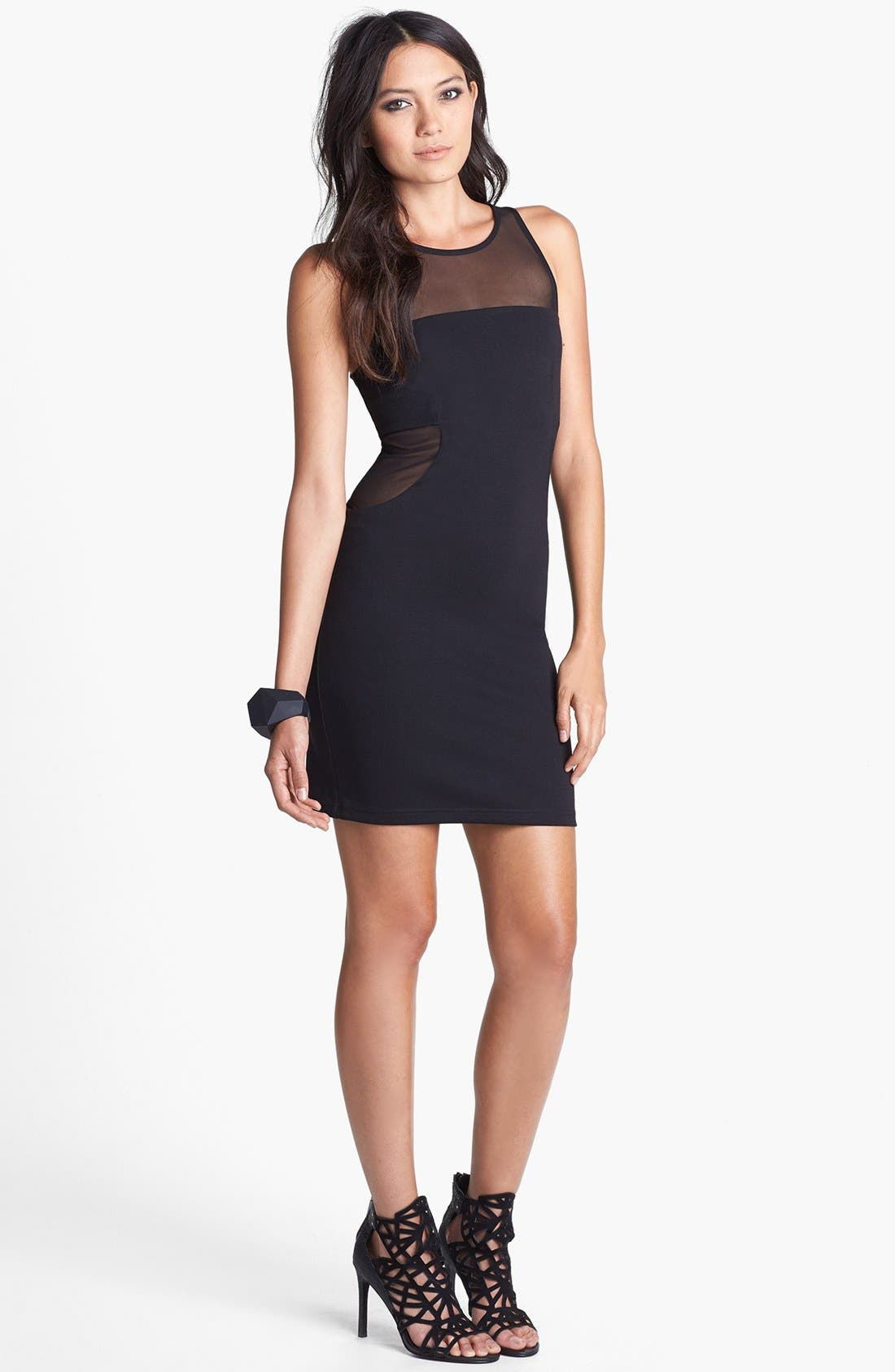 Alternate Image 1 Selected - Like Mynded Mesh Inset Body-Con Dress