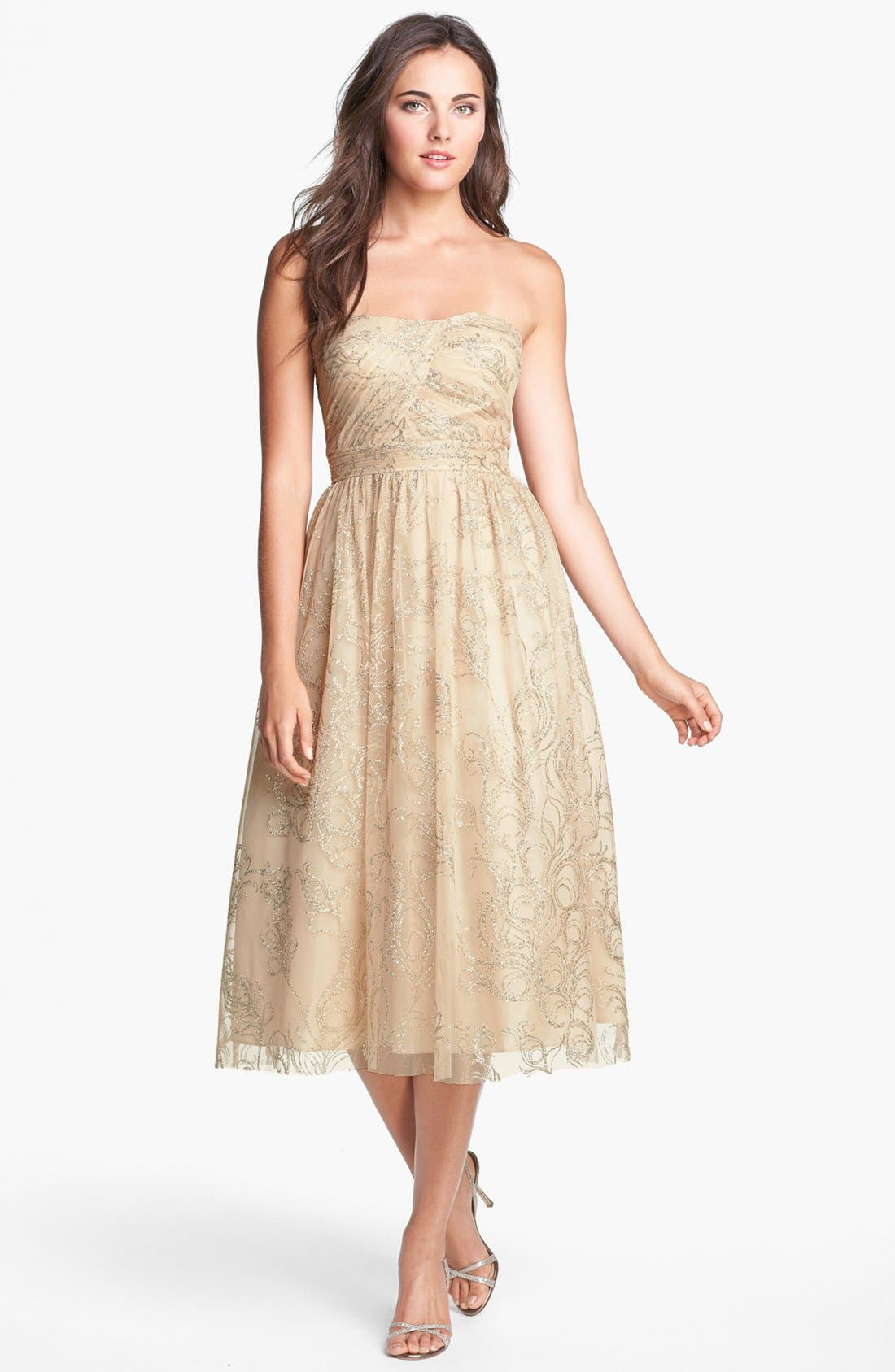 Main Image - Hailey by Adrianna Papell Glitter Print Tulle Fit & Flare Dress