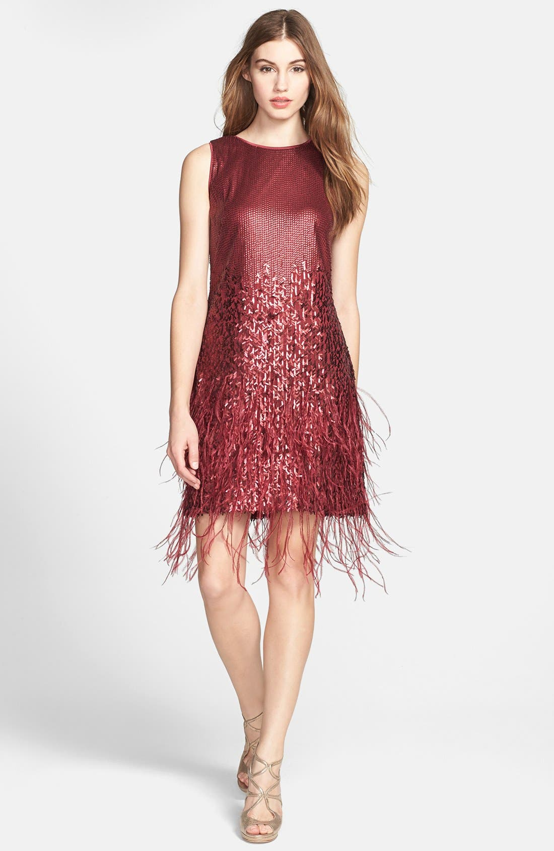 Main Image - Jessica Simpson Sequin & Feather Detail Shift Dress