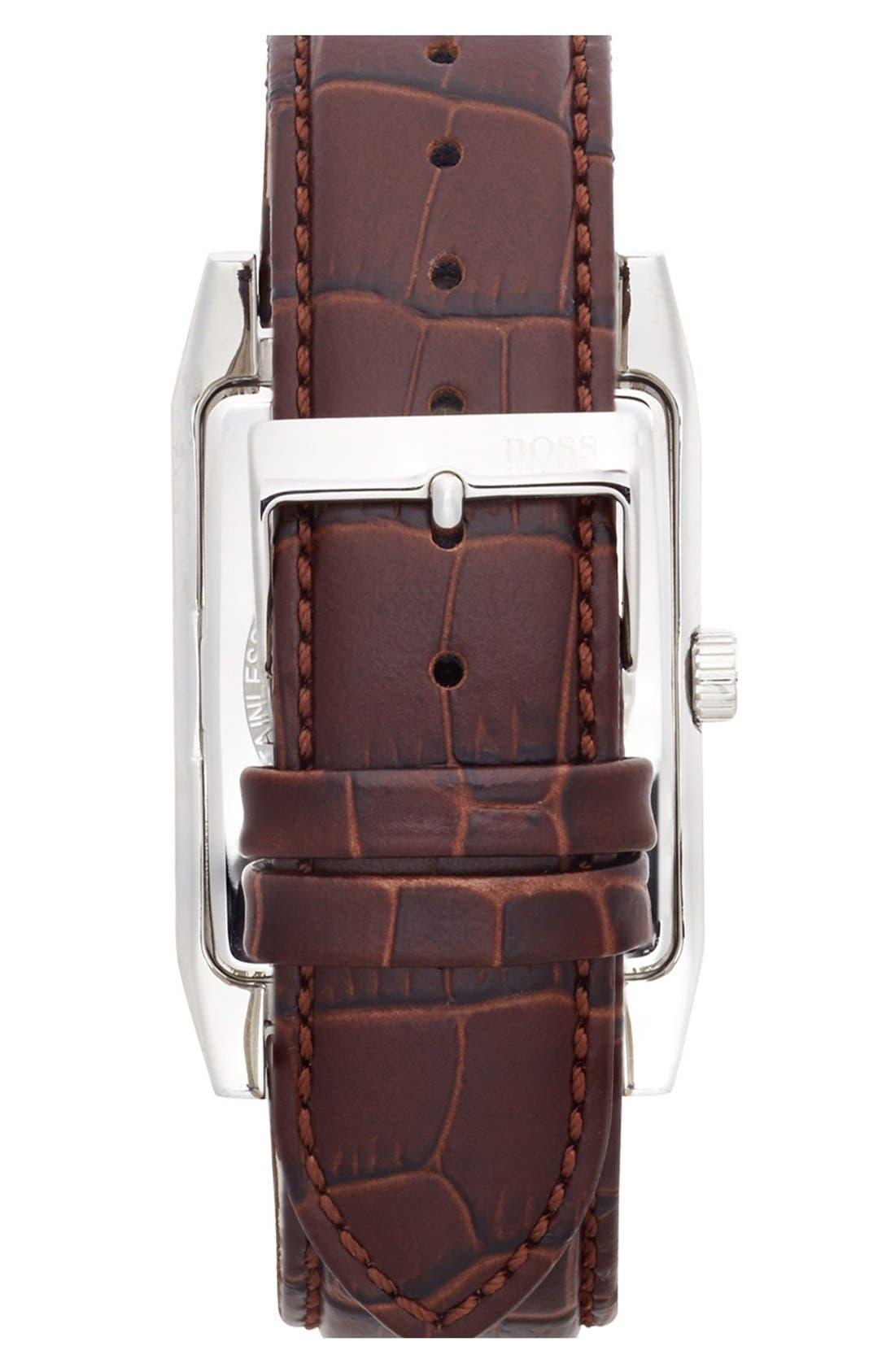 Alternate Image 3  - BOSS HUGO BOSS Rectangular Leather Strap Watch, 22mm x 33mm