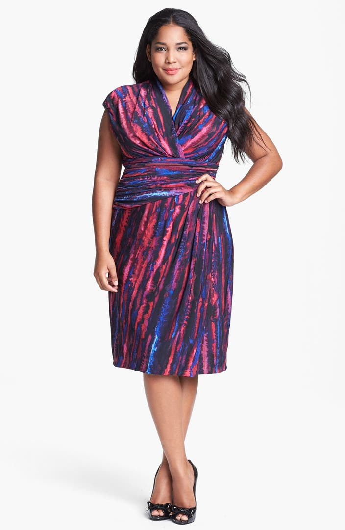 suzi chin for maggy boutique stripe jersey faux wrap dress. Black Bedroom Furniture Sets. Home Design Ideas