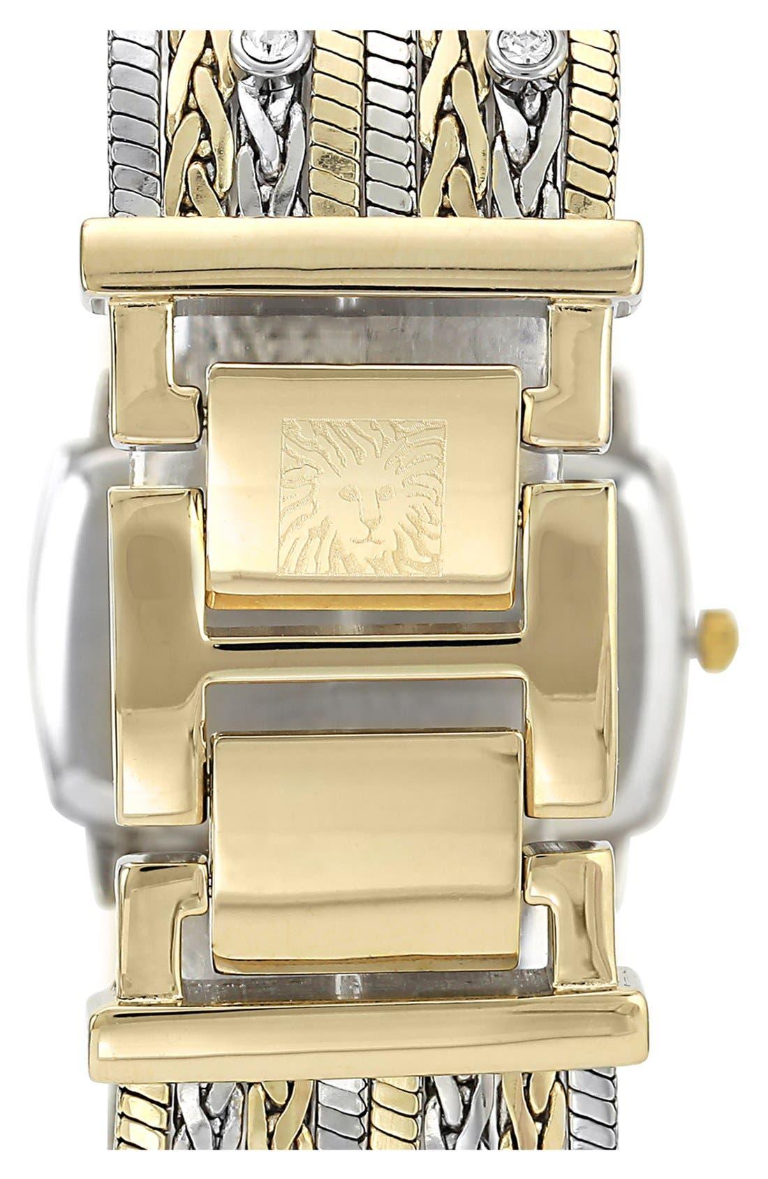 Alternate Image 2  - Anne Klein Single Diamond Two Tone Bracelet Watch, 25mm x 19mm