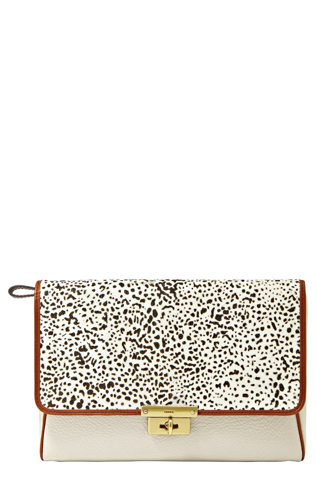 Main Image - Fossil 'Memoir' Genuine Calf Hair Clutch