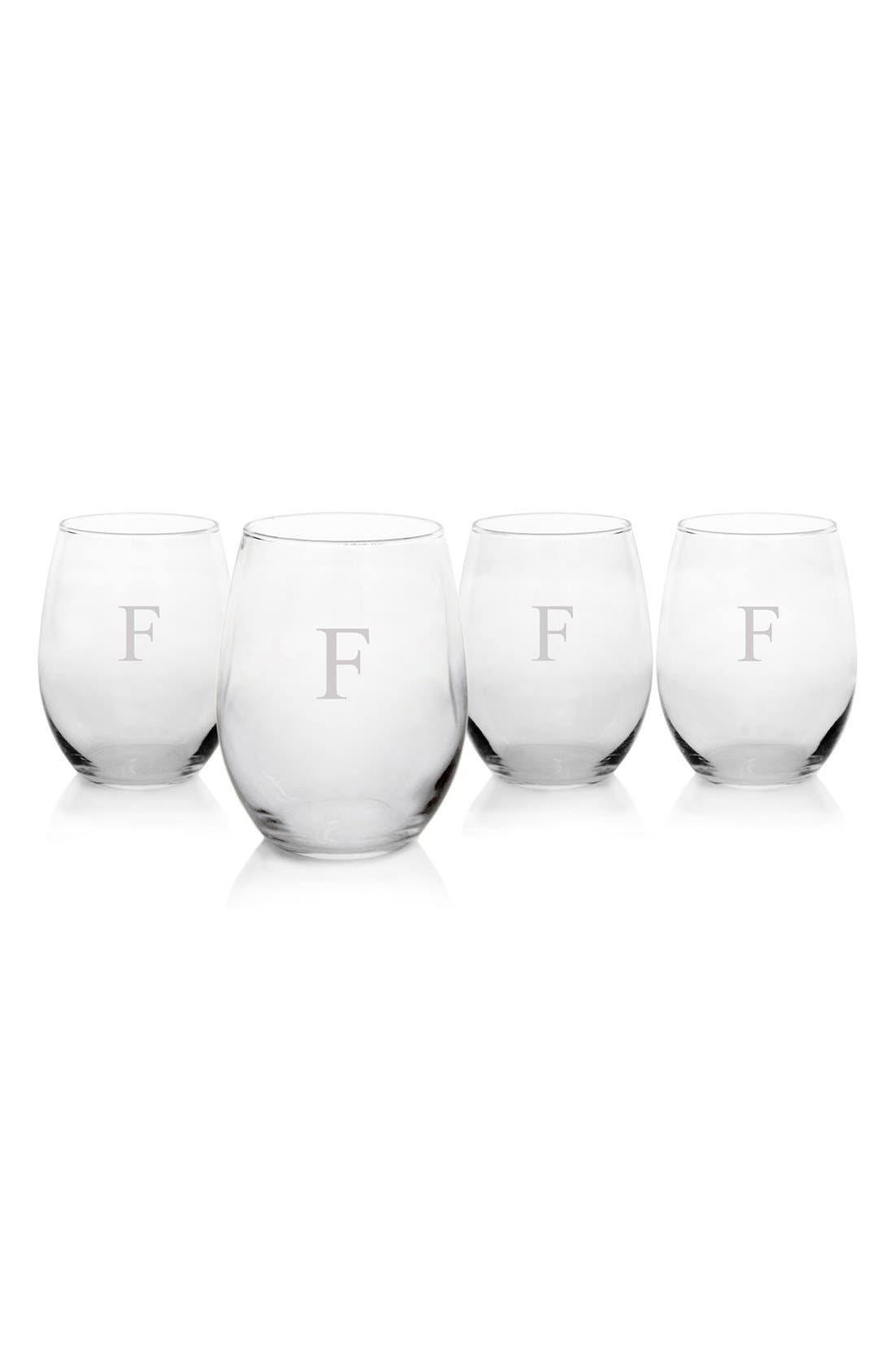 Monogram Set of 4 Stemless Wine Glasses,                         Main,                         color, Clear-F