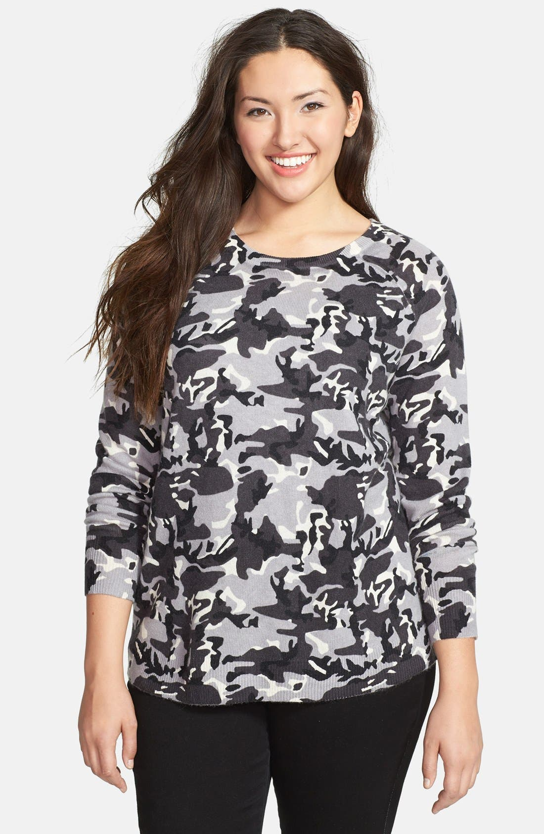 Main Image - Halogen® Camo Print Wool Blend Pullover (Plus Size)