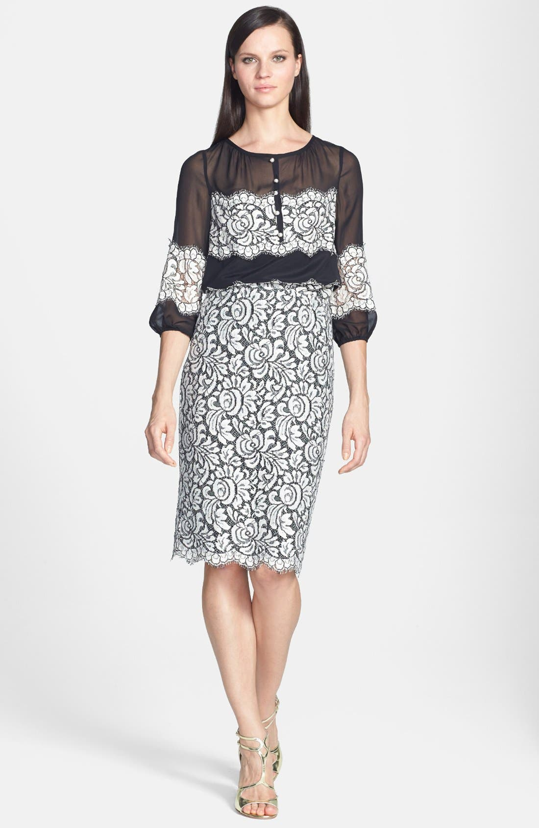 Alternate Image 2  - St. John Collection Scallop Hem Graphic Lace Pencil Skirt