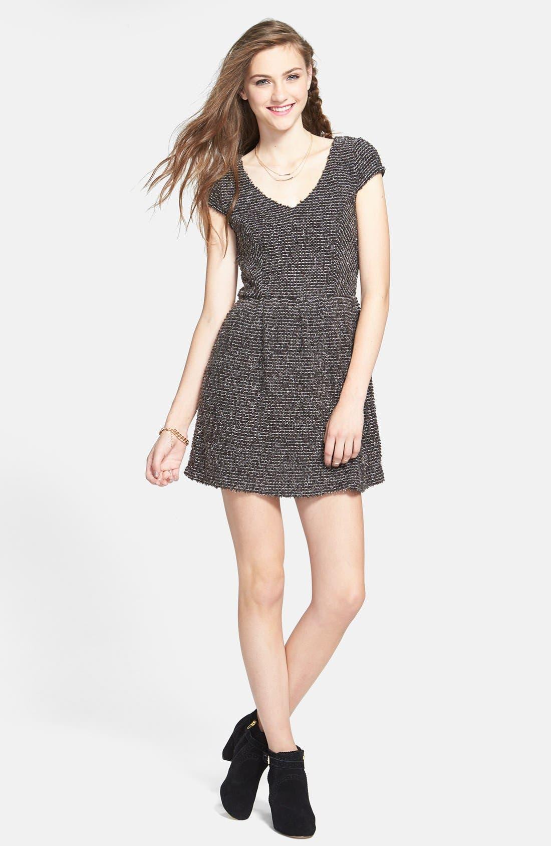 Main Image - Socialite Textured Skater Dress (Juniors)