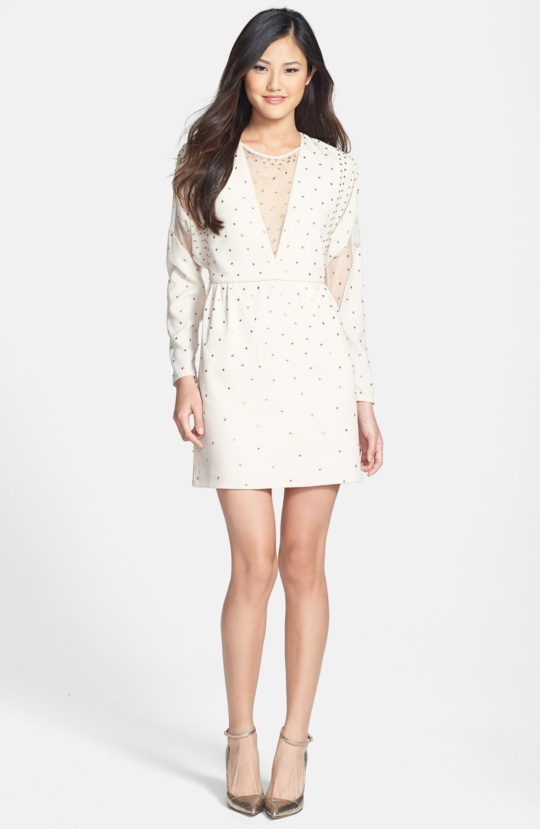 Main Image - BCBGMAXAZRIA Illusion Cutout Embellished Dress