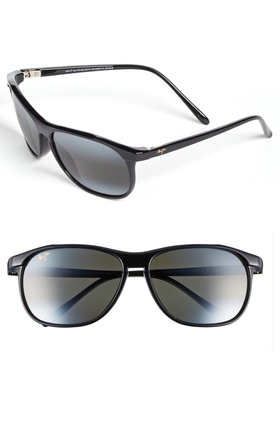 'Voyager - PolarizedPlus<sup>®</sup>2' 60mm Sunglasses,                         Main,                         color, Gloss Black