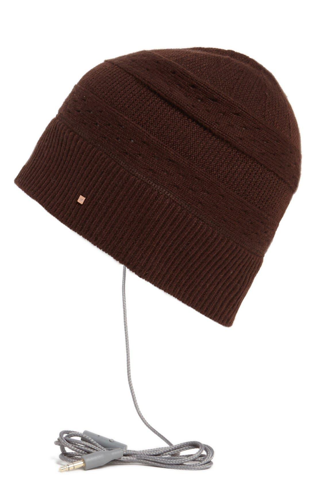 Alternate Image 1 Selected - U R Eyelet Stripe Knit Tech Hat