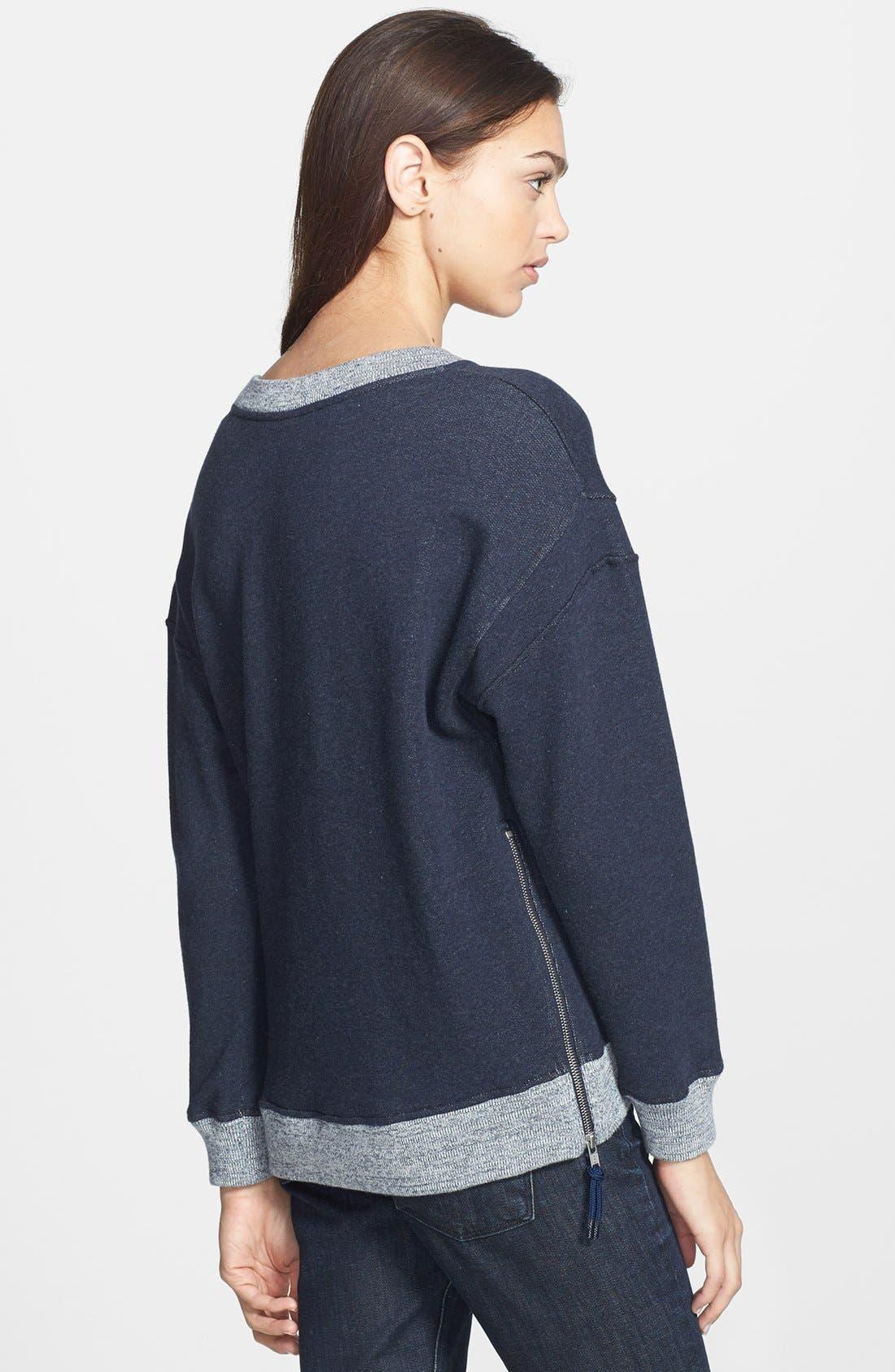 Alternate Image 2  - Theory 'Corbit B' Side Zip Cotton Sweatshirt