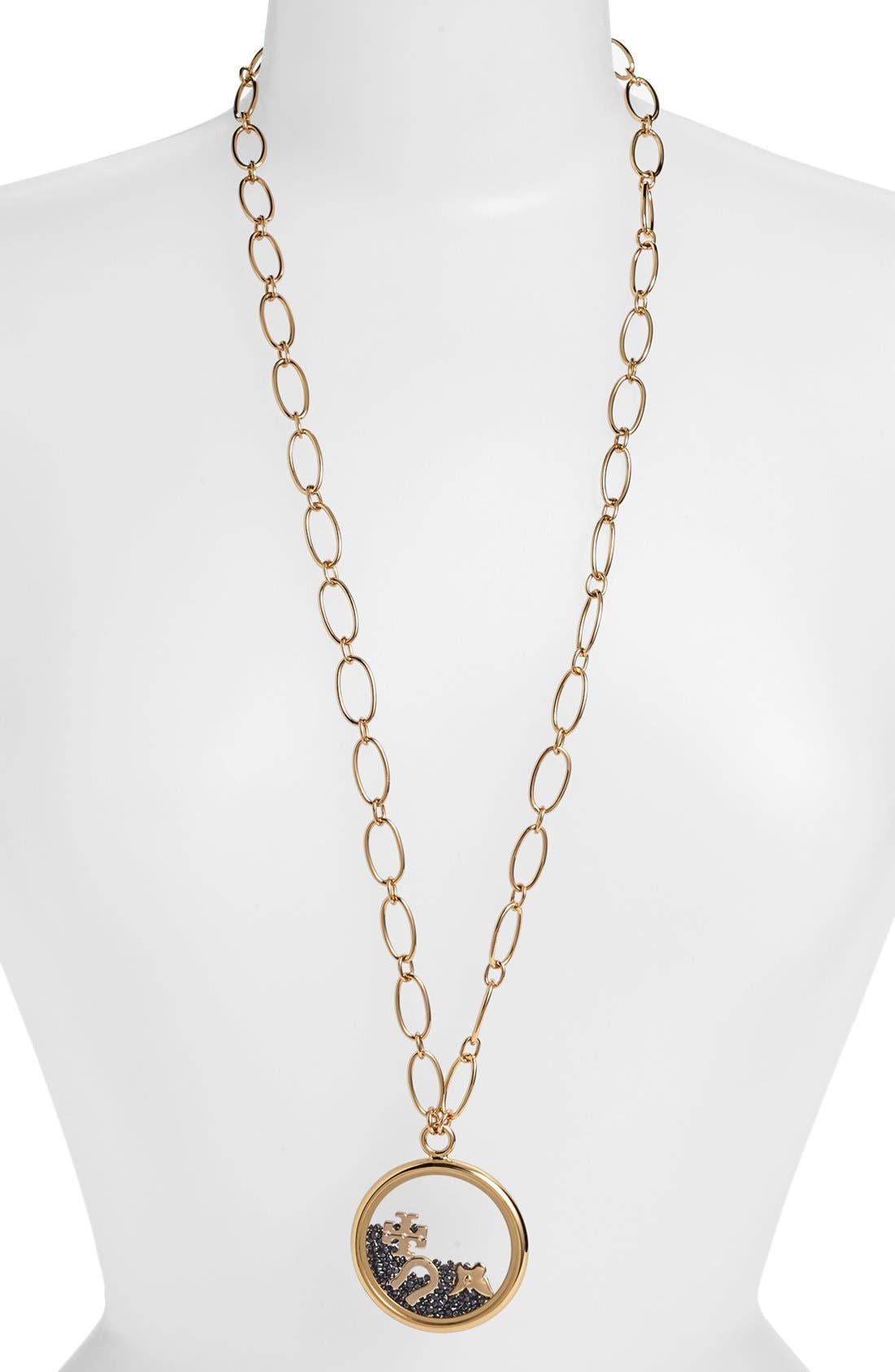 Alternate Image 1 Selected - Tory Burch 'Sylbie' Glitter Pendant Chain Necklace