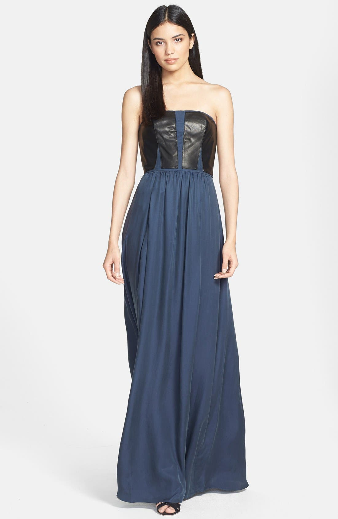 Main Image - Rebecca Taylor Strapless Leather Panel Maxi Dress