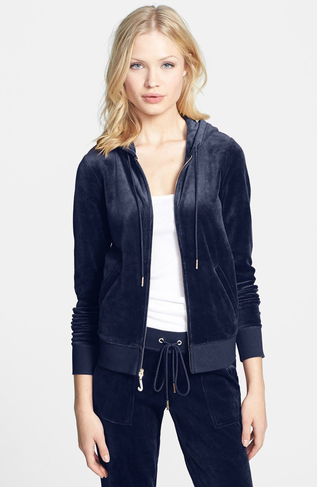 Main Image - Juicy Couture Velour Zip Hoodie (Online Only)