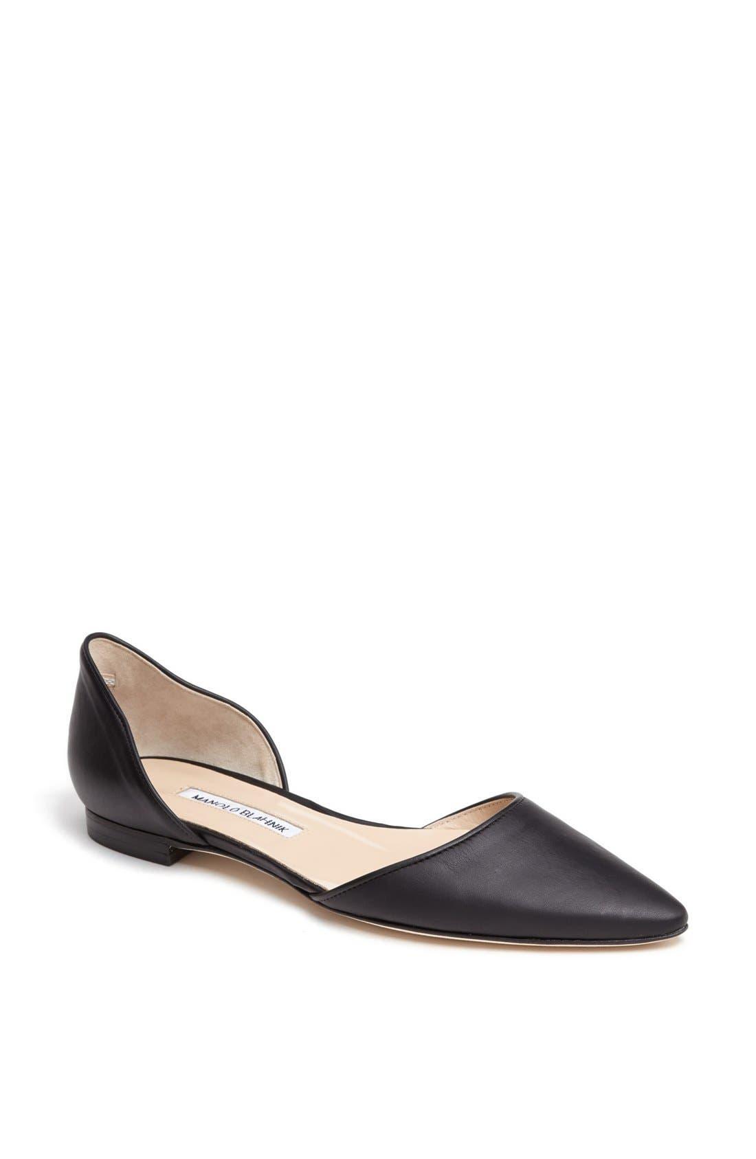 Main Image - Manolo Blahnik 'Soussaba' Leather Pointed Toe Flat