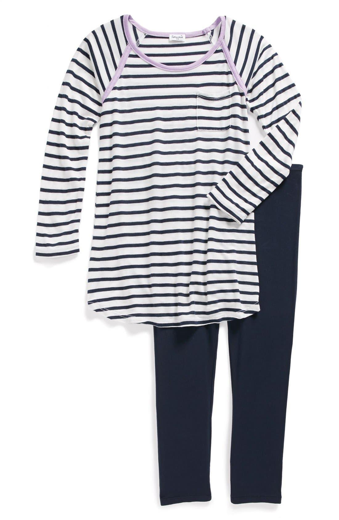 Main Image - Splendid Stripe Tunic & Leggings (Little Girls)