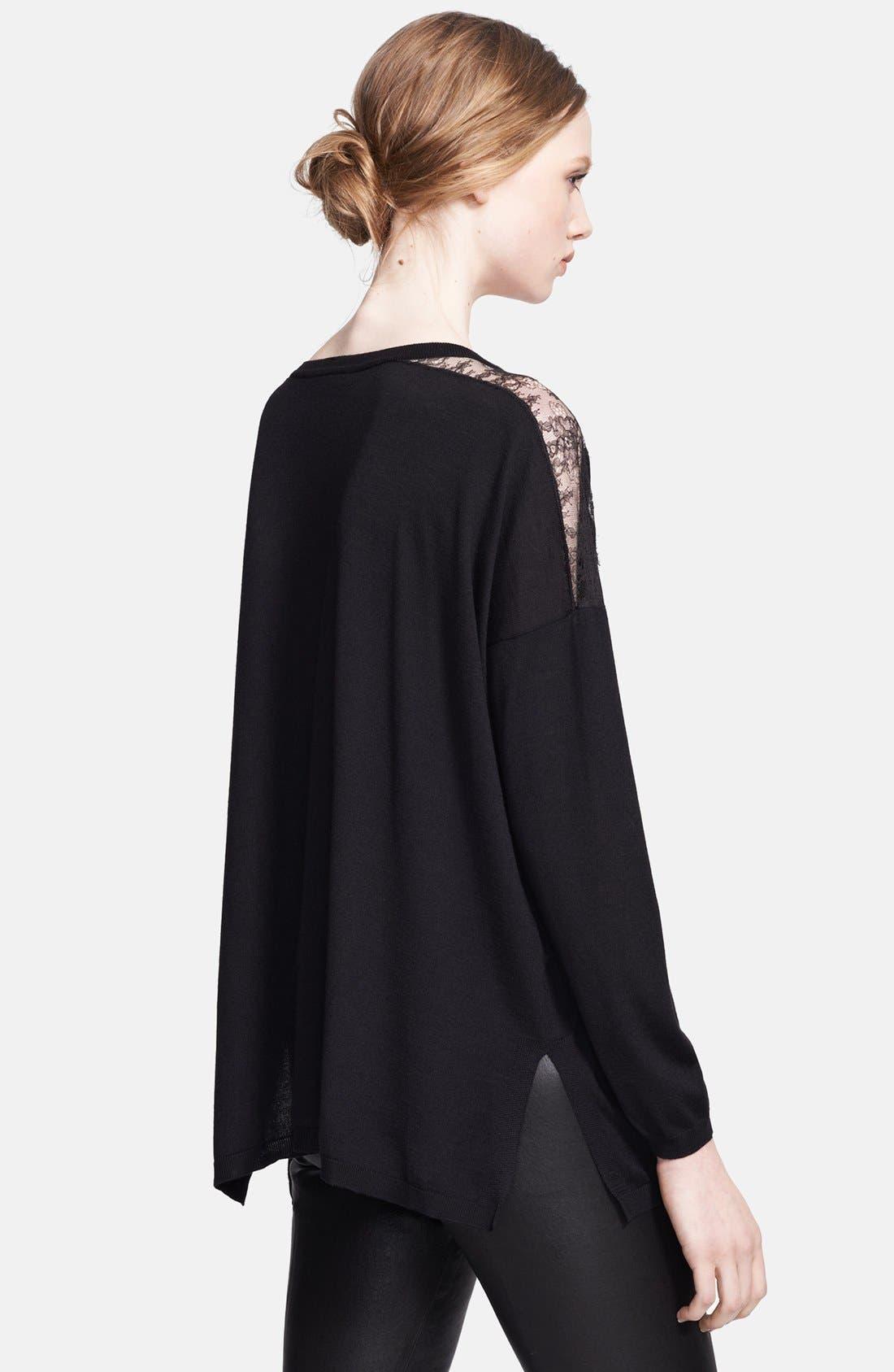 Alternate Image 2  - Valentino Lace Illusion Shoulder Sweater