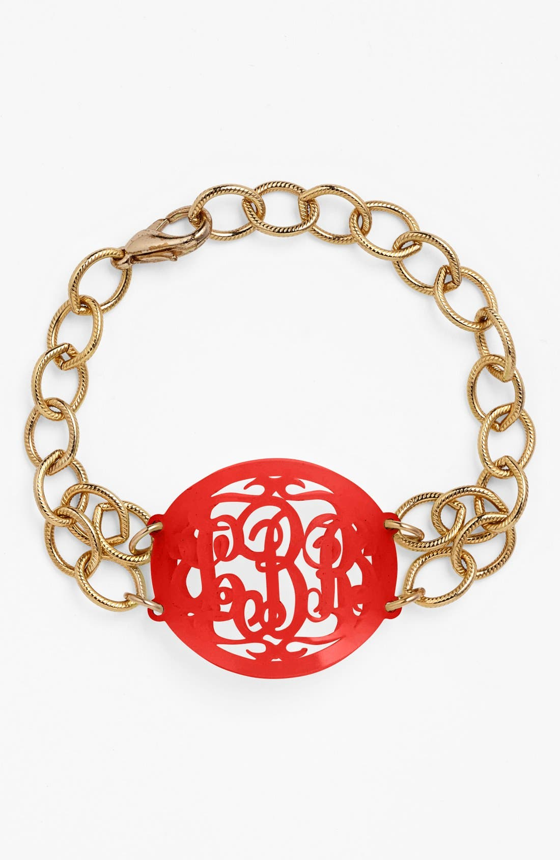 MOON AND LOLA 'Annabel' Medium Oval Personalized Monogram Bracelet (Nordstrom Exclusive) in Ruby/ Gold