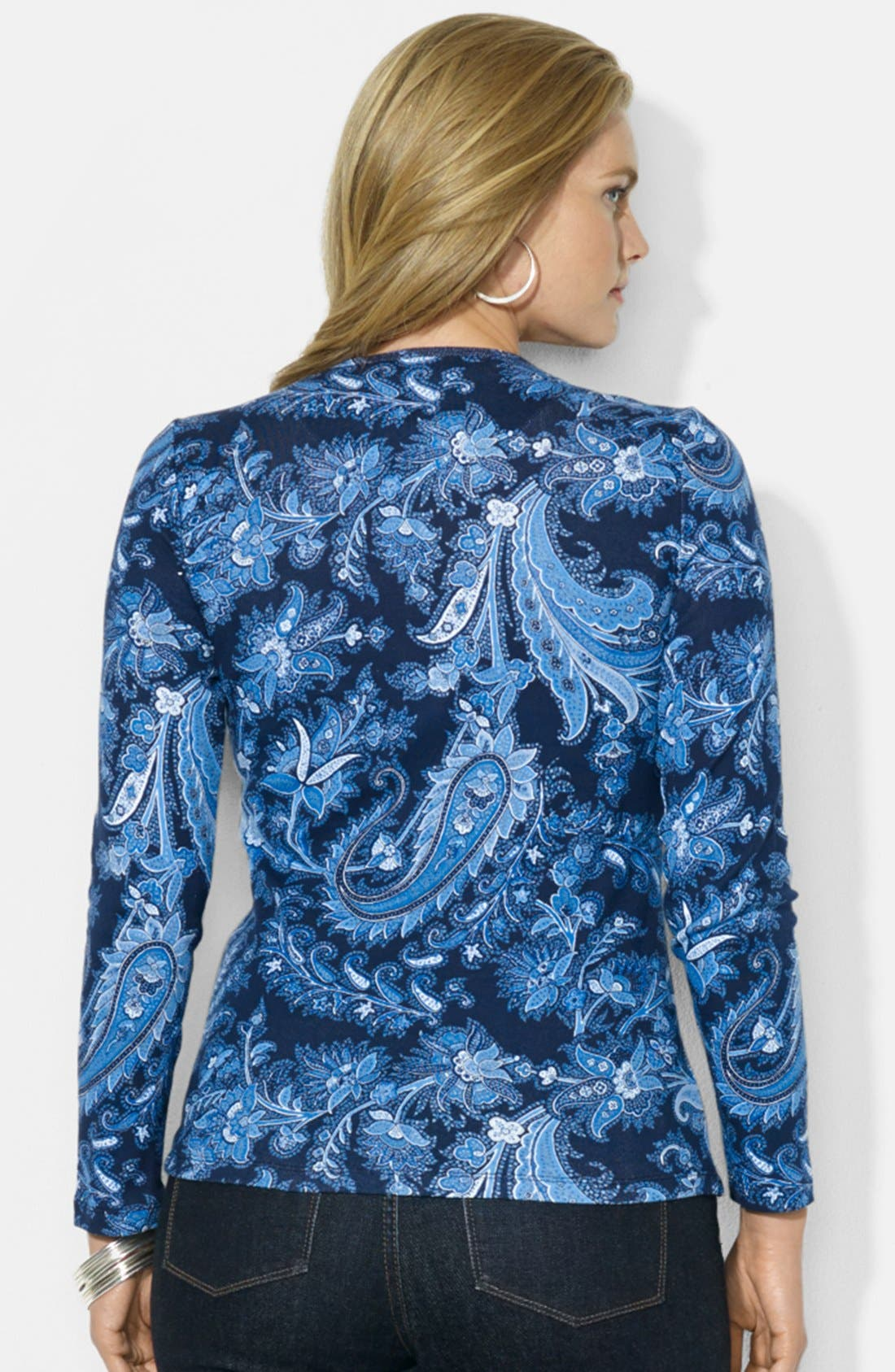 Alternate Image 2  - Lauren Ralph Lauren Print Cotton Top (Plus Size)