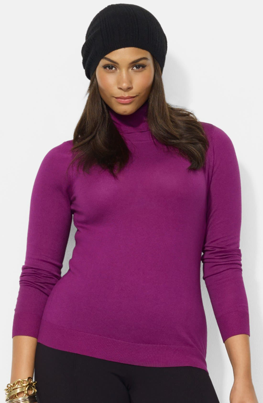 Alternate Image 1 Selected - Lauren Ralph Lauren Cotton Blend Turtleneck (Plus Size)