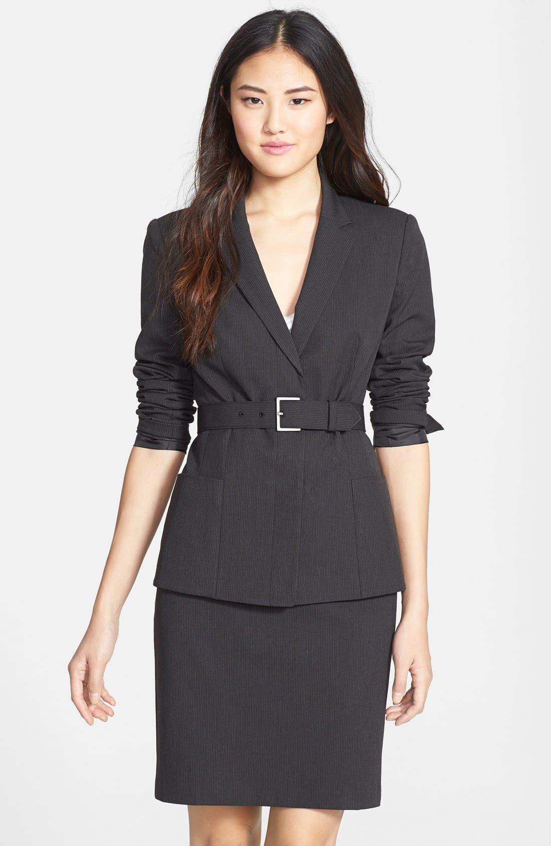 Main Image - Halogen® Mini Pinstripe Belted Suit Jacket