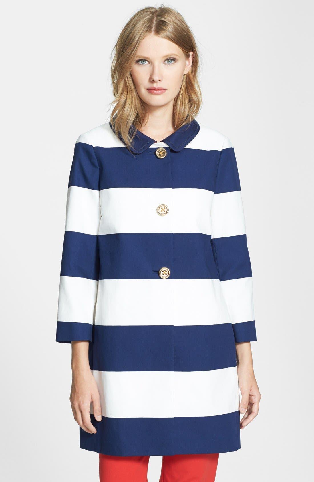'franny' bow detail coat,                         Main,                         color, French Navy/ Cream Barnett
