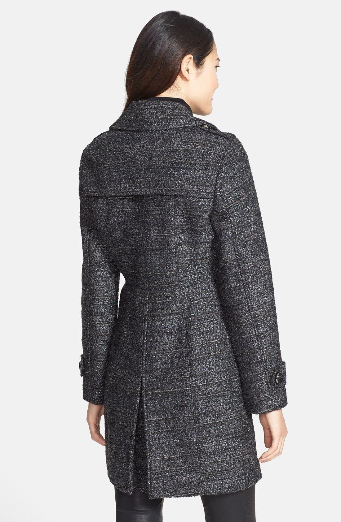 Metallic Tweed Walking Coat,                             Alternate thumbnail 2, color,                             Black
