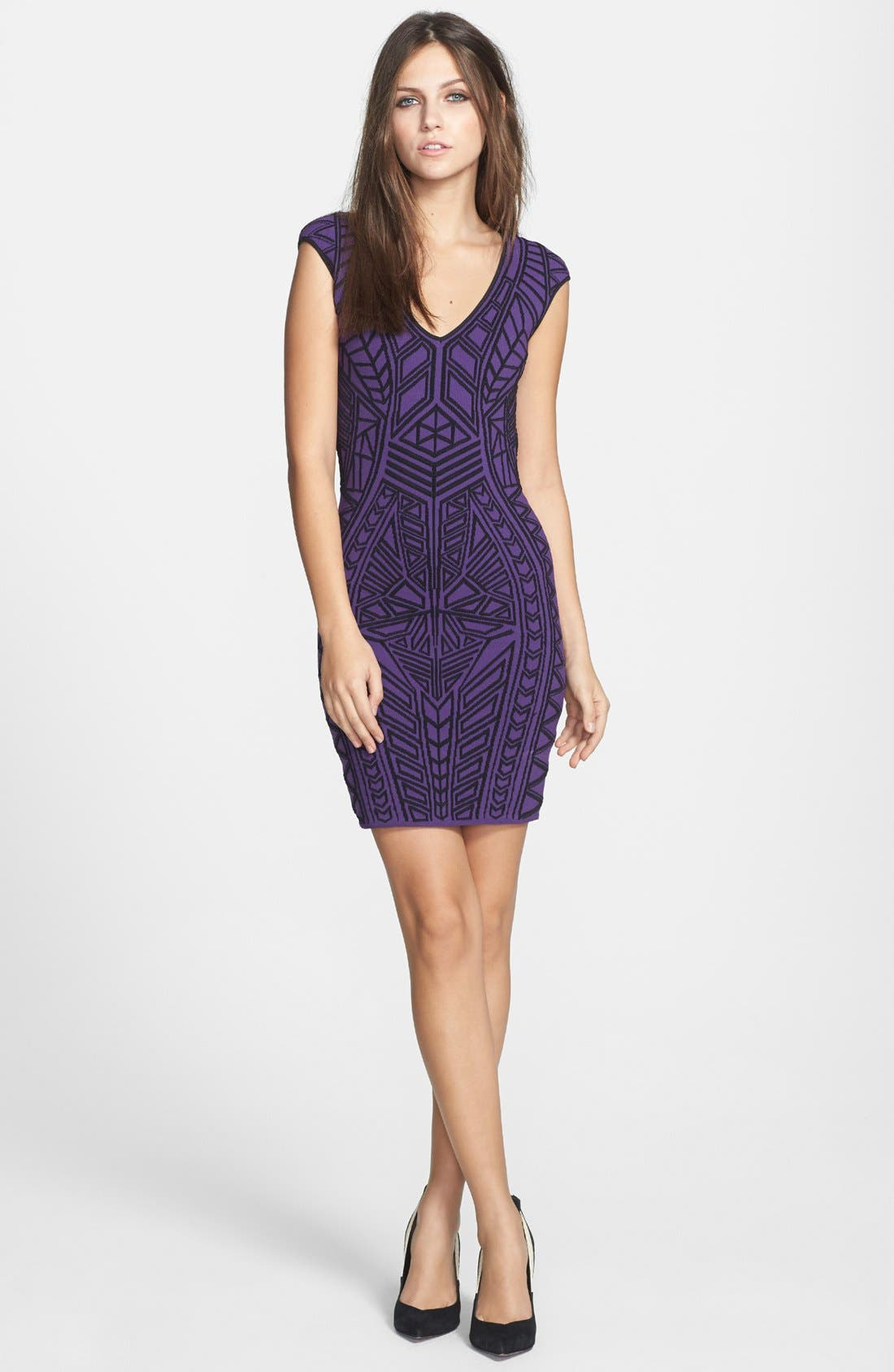 Alternate Image 1 Selected - RVN Abstract 3D Jacquard Body-Con Dress