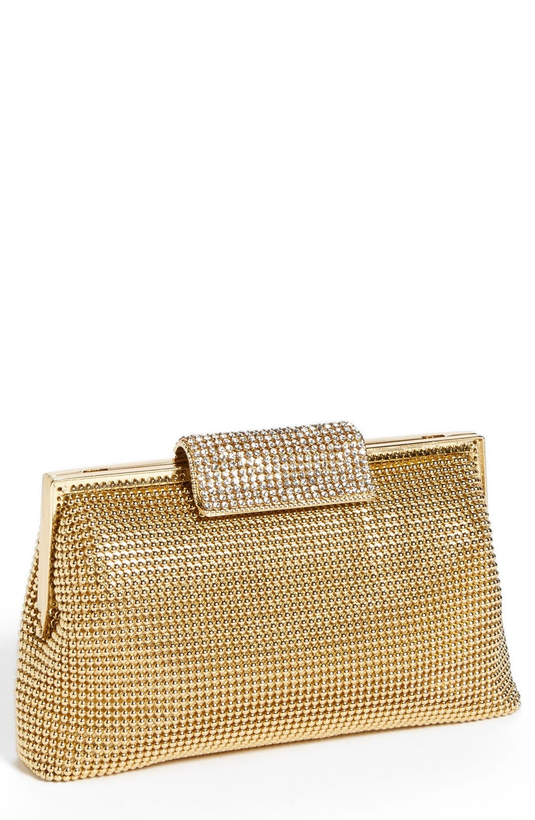 Crystal Frame Clutch,                         Main,                         color, Gold