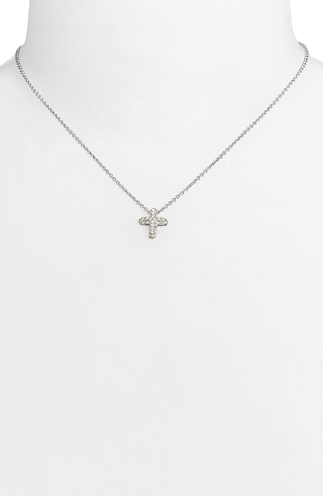 Reversible Pavé Cross Pendant Necklace,                             Alternate thumbnail 2, color,                             Cross