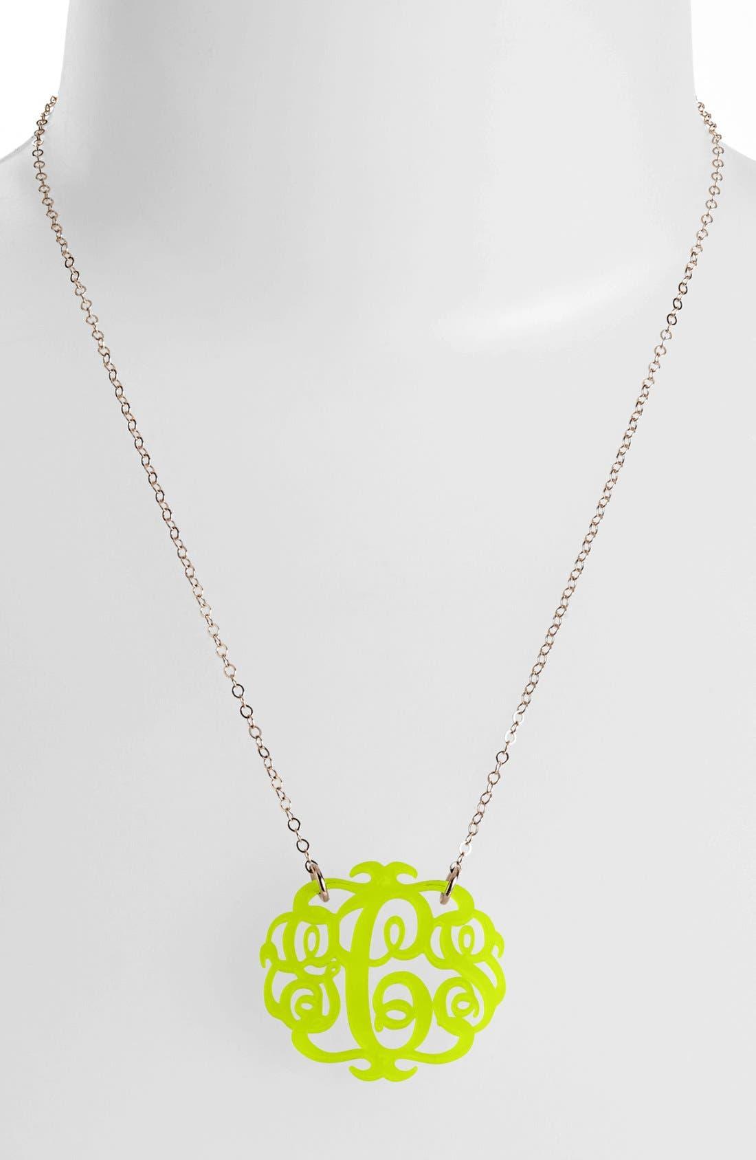 Medium Oval Personalized Monogram Pendant Necklace,                             Main thumbnail 1, color,                             Lime/ Gold