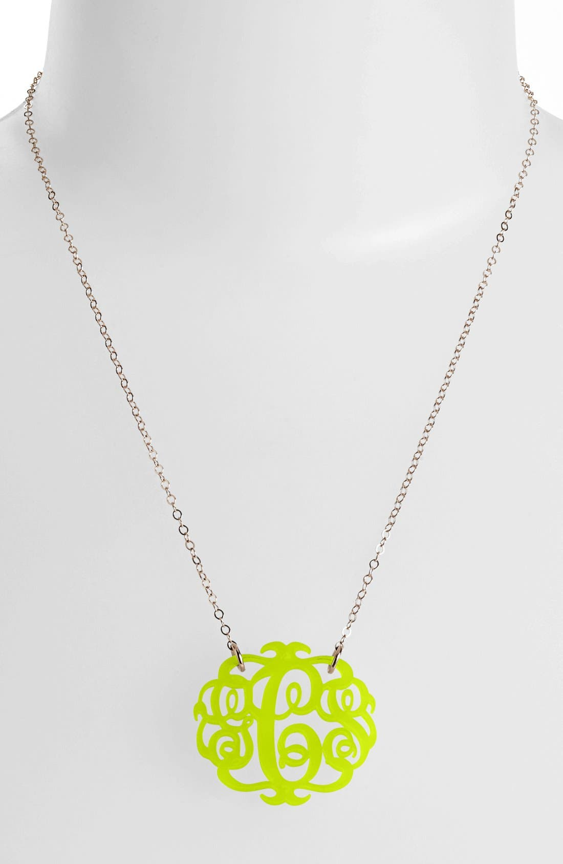 Medium Oval Personalized Monogram Pendant Necklace,                         Main,                         color, Lime/ Gold