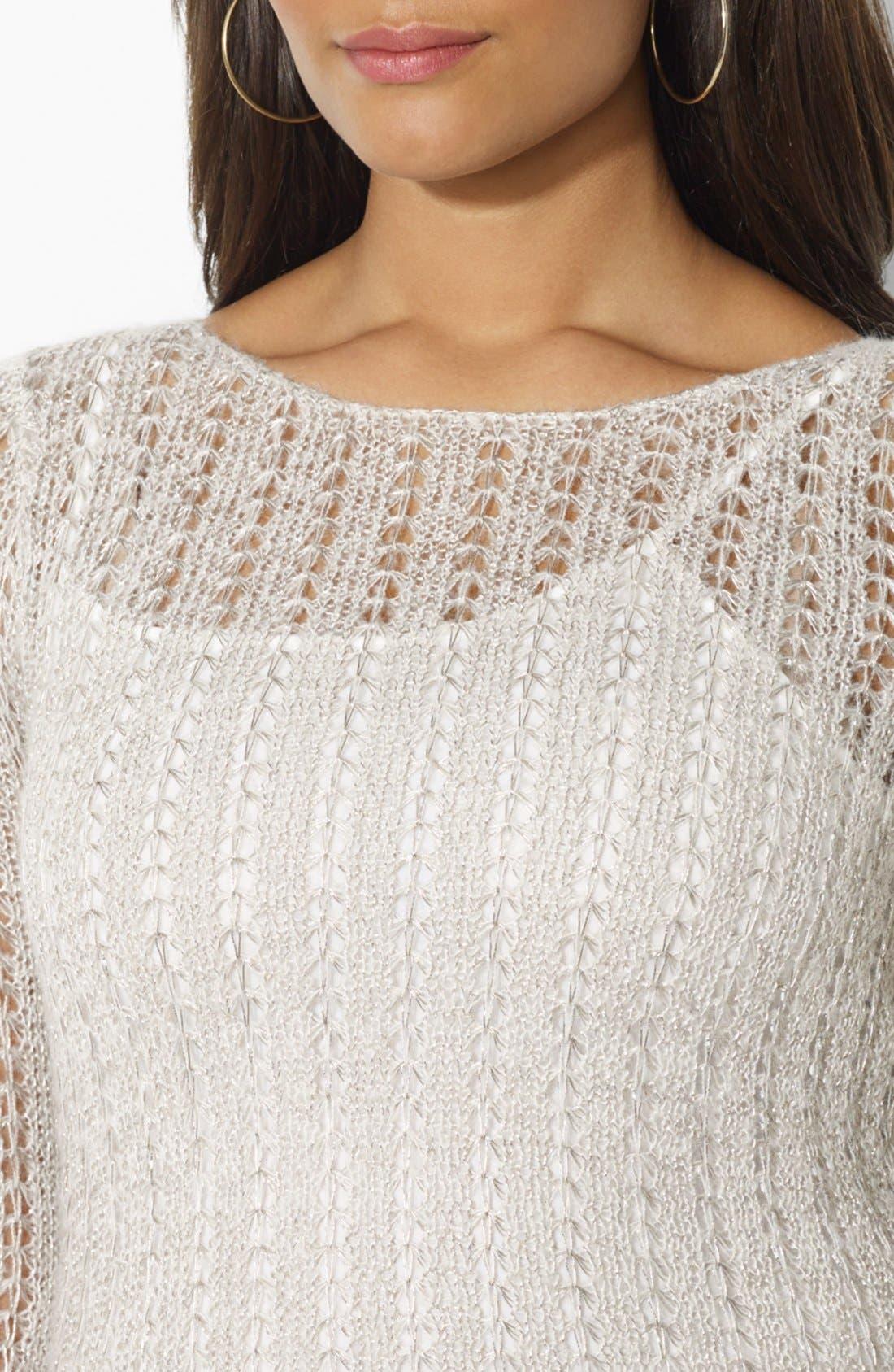 Alternate Image 3  - Lauren Ralph Lauren Metallic Pointelle Knit Sweater (Plus Size)