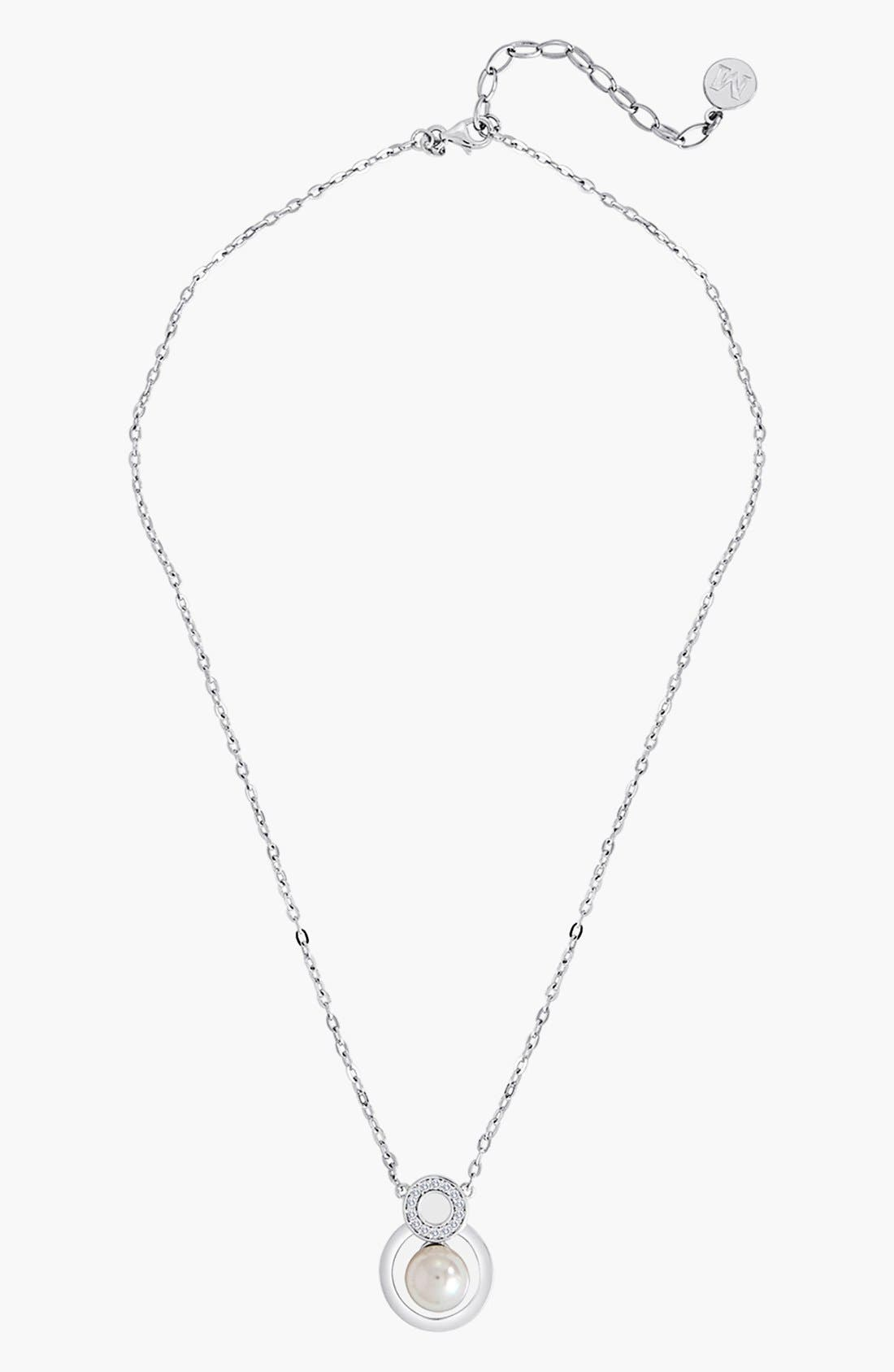 Alternate Image 1 Selected - Majorica 8mm Pearl & Crystal Pendant Necklace