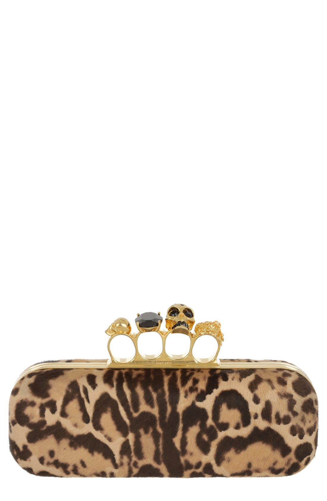 Main Image - Alexander McQueen 'Knucklebox' Leopard Print Calf Hair Clutch