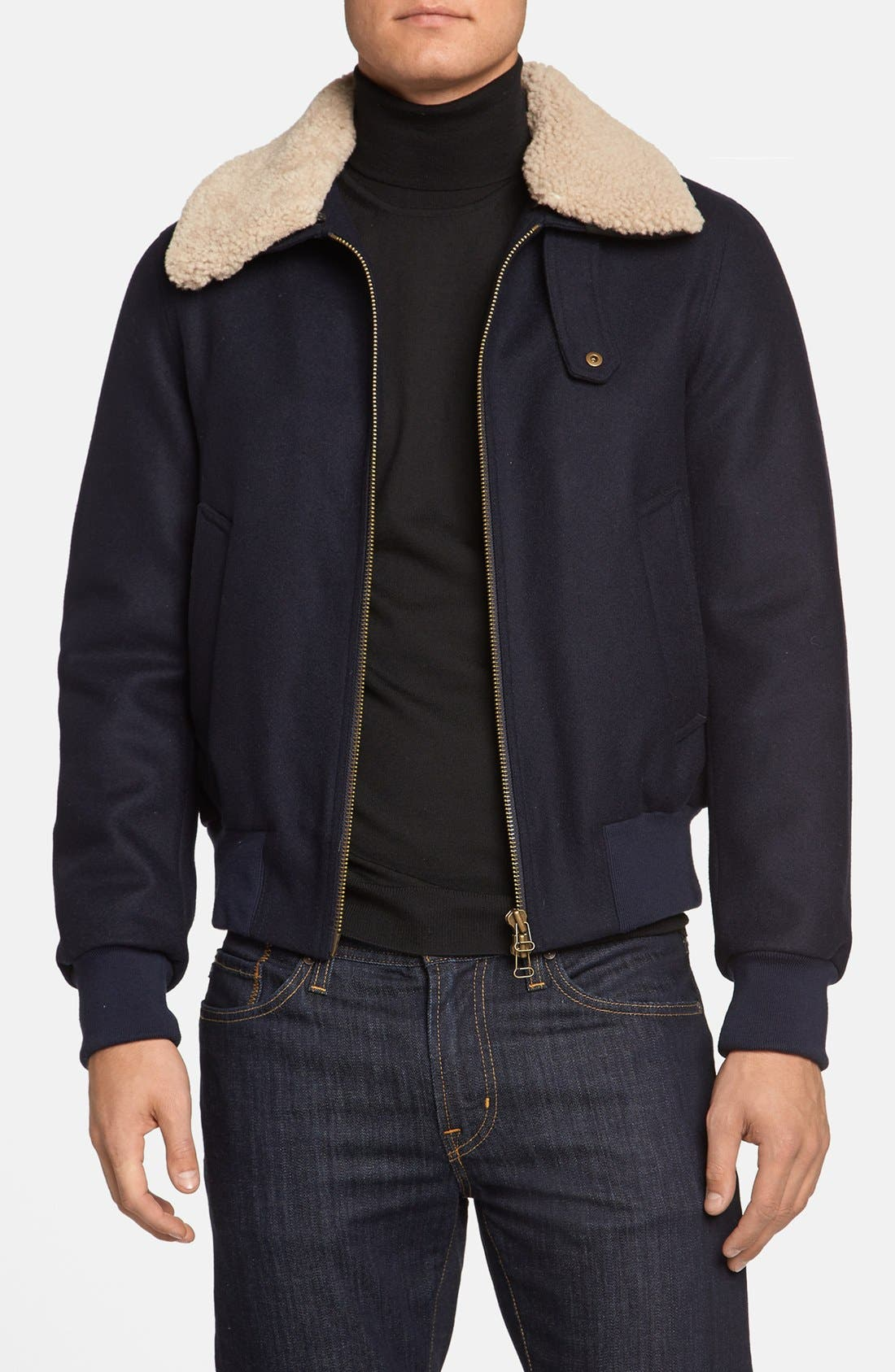 Alternate Image 1 Selected - AMI Alexandre Mattiussi Wool & Genuine Shearling Bomber Jacket