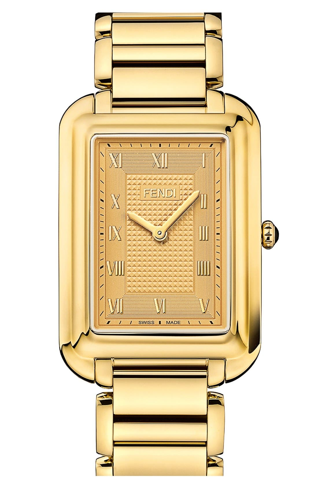 Alternate Image 1 Selected - Fendi 'Classico' Rectangular Bracelet Watch, 31mm x 38mm