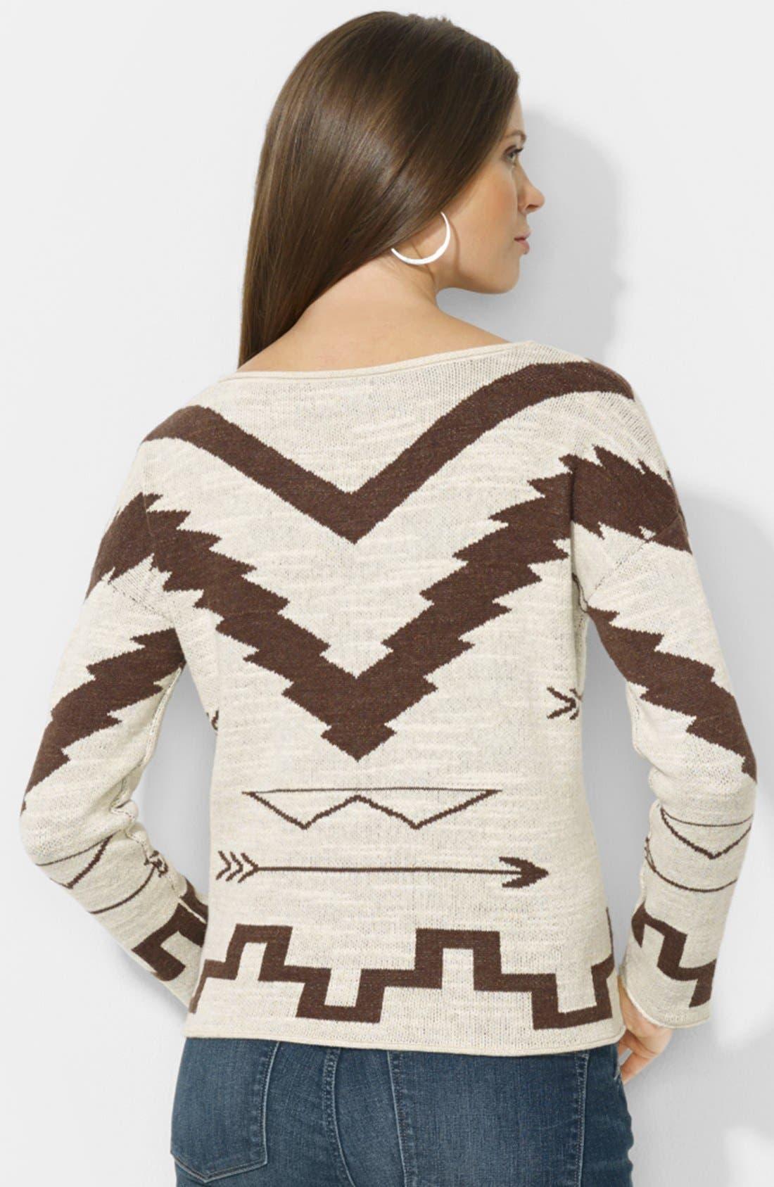 Alternate Image 2  - Lauren Ralph Lauren Patterned Boat Neck Sweater (Petite)